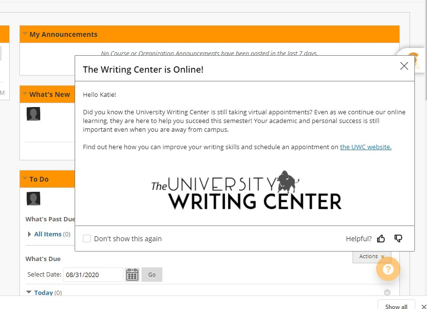 The Writing Center is Online!