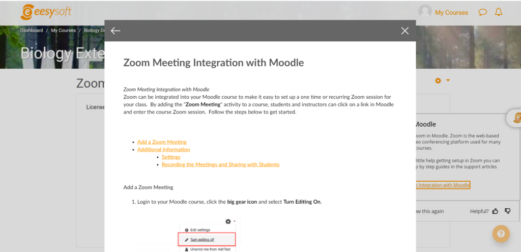 Zoom Meeting Integration with Moodle
